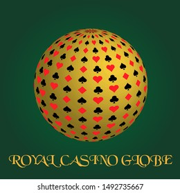 Royal casino globe gold design on green background