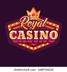 Royal casino red retro sign flat illustration