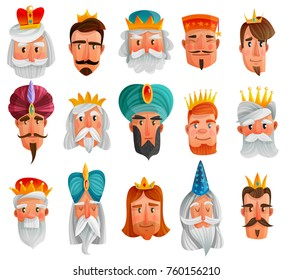 Royal characters cartoon set with faces of european and asian kings, princes, wise men isolated vector illustration