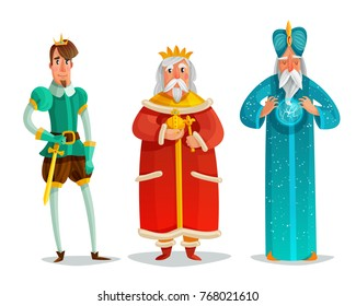 Royal characters cartoon set including prince with sword, king, wise man with energy ball isolated vector illustration