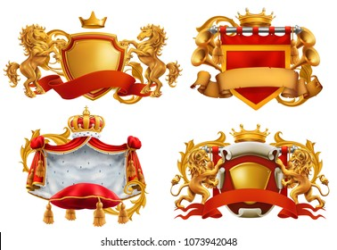 Royal coat of arms. King and kingdom. 3d vector emblem set