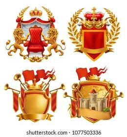 Royal coat of arms. King and kingdom, 3d vector emblem set