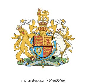 Royal coat of arms of the United Kingdom. Isolated vector illustration on white background.
