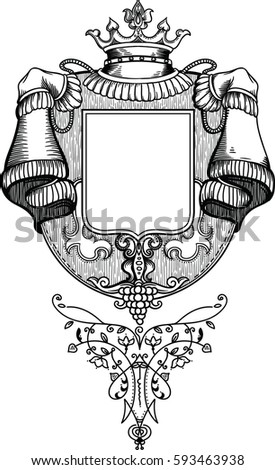 royal coat arms vineyard wooden texture stock vector royalty free