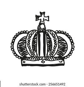 Royal Crown Doodle Hand Sketch style which is an emblem for royals, government and symbol of other meanings like immortality. Editable Vector Illustration.