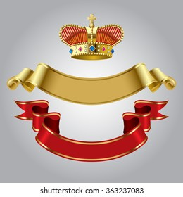 Royal crown with gold and red ribbons isolated on white background. Vector illustration