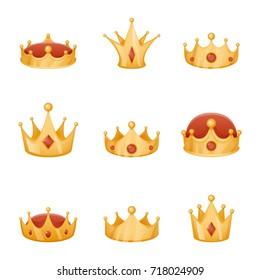 Royal crown head power 3d cartoon icons isolated set vector illustration