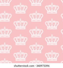 Royal crown on pink background seamless pattern texture