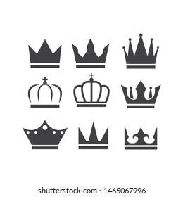 royal crown set logo icon vector illustration design