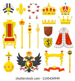 Royal crown vector royalty emblem and golden jewelry symbol of king queen and princess illustration sign of crowning prince authority and crown jeweles set isolated on white background