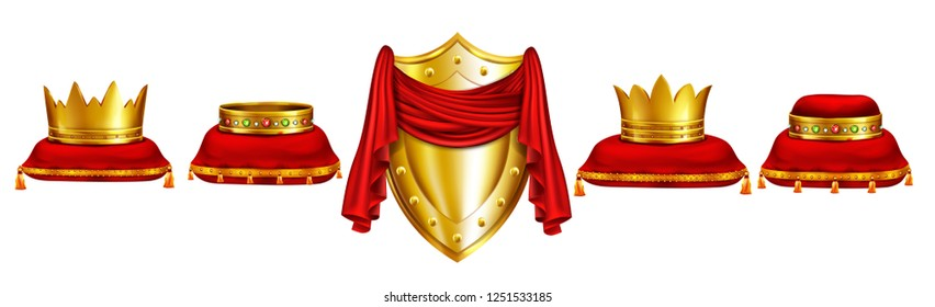Royal crowns decorated with gems on red pillows and golden shield covered with red tissue realistic vector set isolated on white background. Monarch coronation attributes, king power symbol collection
