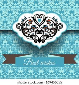 Royal damask ornament card background