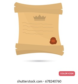 Royal decree color flat icon for web and mobile design
