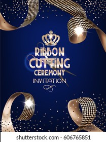 Royal design banner with gold curly silk ribbons and blue background. Ribbon cutting ceremony. Vector illustration