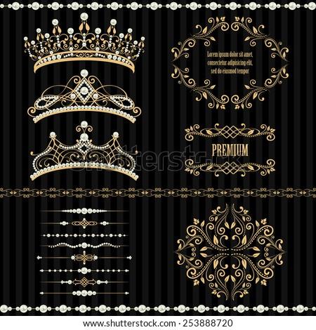 Royal Design Elements Vintage Frames Dividers Image Vectorielle De
