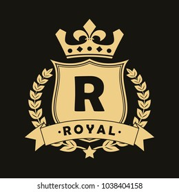 Royal design logo with shield, crown, laurel wreath and ribbon. Luxury logotype template for company with royalty coat of arms. Vector illustration.