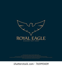 Royal Eagle Logo Illustration. Eagle Logo Template. Golden eagle logo concept