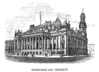 Royal Exchange in Manchester, England, during the 1890s, vintage engraving. Old engraved illustration of Royal Exchange. Trousset encyclopedia (1886 - 1891).