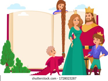 Royal family and big book cover concept illustration