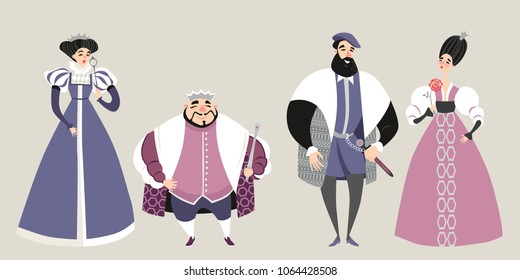 The royal  family. Fairy tale. Funny cartoon characters in historical costumes. Isolated king, queen, prince and princess