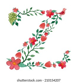 Royal floral monogram Z painted with watercolor