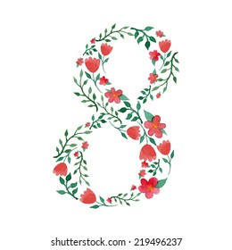 Royal floral number 8 painted with watercolor