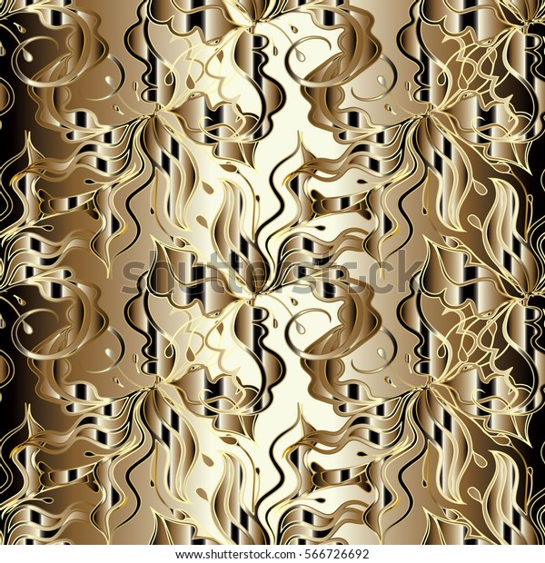 Royal Floral Seamless Pattern Elegant Gold Stock Vector