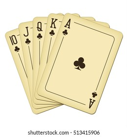 Royal Flush of clubs - vintage playing cards vector illustration