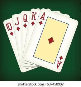Royal Flush of diamonds - playing cards vector illustration