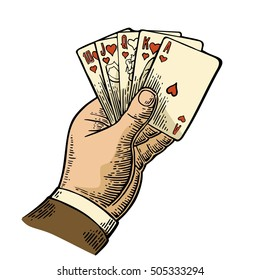 Royal flush in hearts. Male hand holding a  playing cards. Vector color vintage engraving illustration for poster, label, banner, web. Isolated on white background