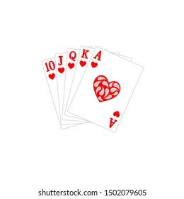 Royal Flush of Hearts Poker Cards