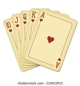 Royal Flush of hearts - vintage playing cards vector illustration