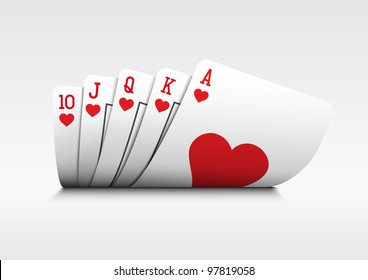 Royal flush playing cards poker hand on white background.