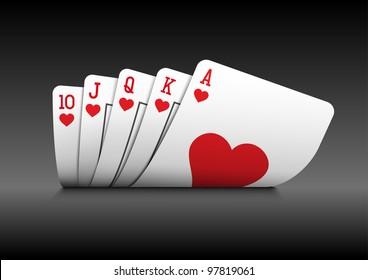 Royal flush playing cards poker hand on black background.