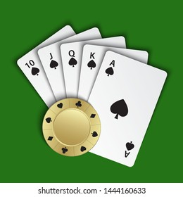 A royal flush of spades with gold poker chip on green background, winning hands of poker cards, casino playing cards and chip, vector poker symbols