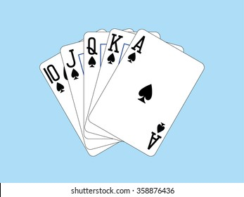 Royal Flush of Spades vector illustration