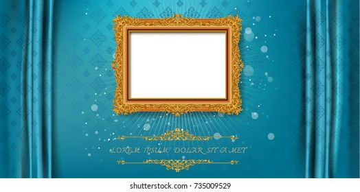 Royal frame on blue pattern background, Vintage photo frame on drake background, antique, vector golden ornament