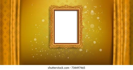 Royal frame on golden pattern background, Vintage photo frame on drake background, antique, vector golden ornament