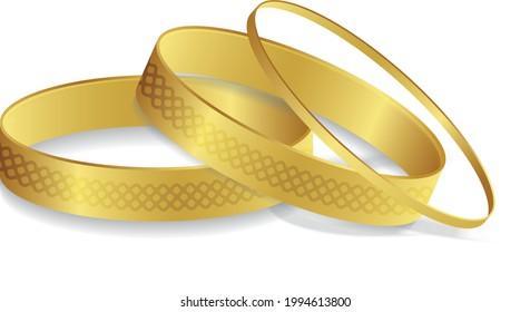 royal gold bangle Indian gold bangles Arabian Bracelet woman fashion jewelry vector illustration