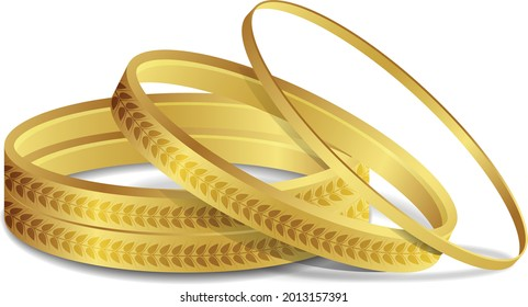 Royal Gold Bangle Indian Gold Bangles Arabian style Bracelet Fashion Jewelry vector illustration