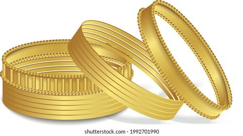 royal gold Bracelet Indian gold bangles Arabian bangle woman fashion jewelry vector illustration