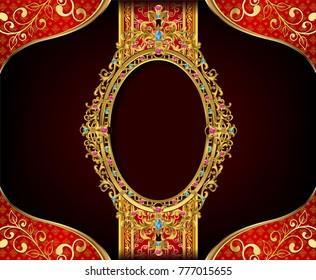 Royal gold frame border on drake pattern background, Vintage photo frame on drake background, antique, vector design pattern