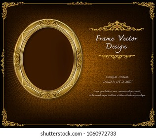 Royal gold frame on drake pattern background, Vintage photo frame on drake background, antique, vector design pattern
