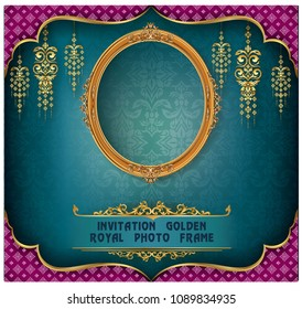 Royal gold frame on pattern background, Border vintage photo frame on drake background, antique, vector design pattern