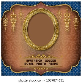 Royal gold frame on pattern background, Border vintage photo frame on drake background, antique, vector design pattern