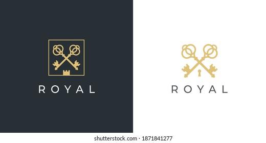 Royal gold key icon. Modern real estate logo template. Crossed classic keys symbol. Luxury hotel sign. Vector illustration.