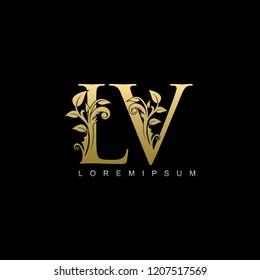 Royal Gold LV Letter Logo. Elegant Gold logo Design Suitable for boutique,restaurant, wedding service,  hotel or business identity.