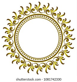 royal gold round frame, Decorative art frame, Abstract vector floral ornament border for your design