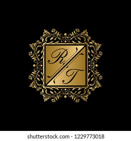 Royal Gold Weeding Logo, RT Letter Logo