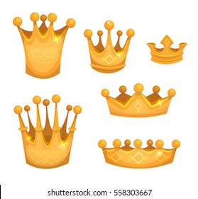 Royal Golden Crowns For Kings Or Game Ui/ Illustration of a cartoon set of royal gold crowns, for award winners icons in game ui and luxury labels
